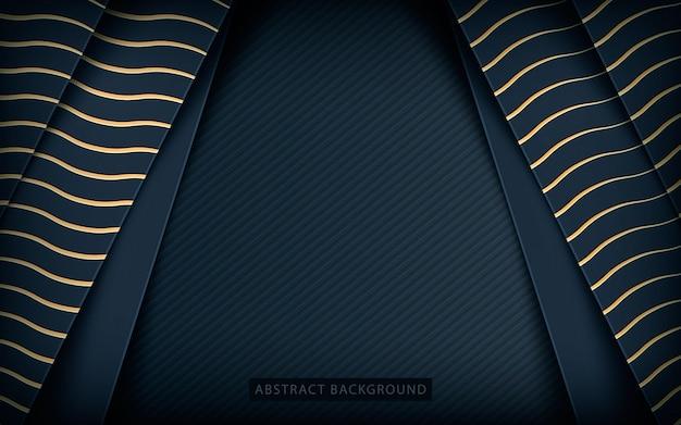 黄金の質感が暗い背景上のレイヤーを重ねる Premiumベクター