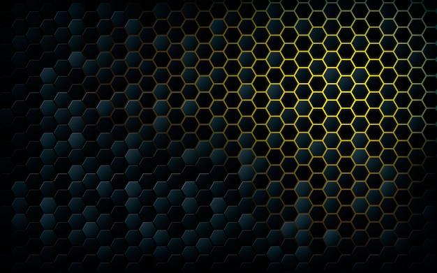 薄黄色の背景を持つ黒い六角形 Premiumベクター