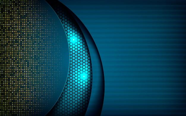 暗い六角形の背景に青の抽象的な寸法 Premiumベクター
