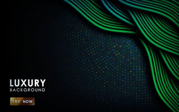 青と緑のグラデーション動的波背景 Premiumベクター
