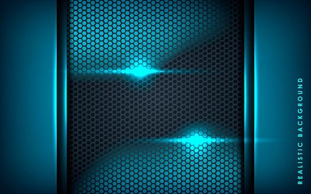 黒い六角形の背景に青の抽象的な層 Premiumベクター