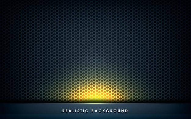 黄金の光とグレーの抽象的なレイヤーの寸法 Premiumベクター