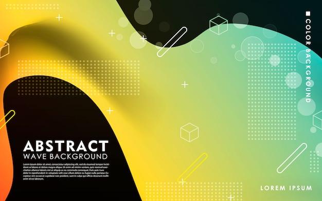 抽象的な黄色と青の波背景 Premiumベクター