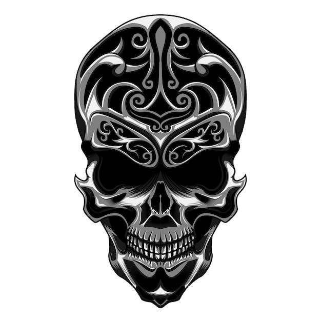 花彫りの頭蓋骨 Premiumベクター