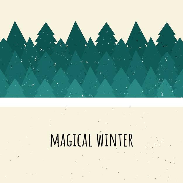 魔法の冬。ベクトル図。木の森。フラットスタイル Premiumベクター