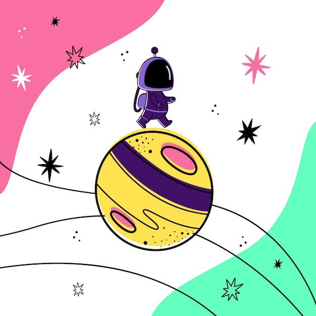 宇宙の惑星の上を歩く宇宙飛行士のベクターイラストです。 Premiumベクター