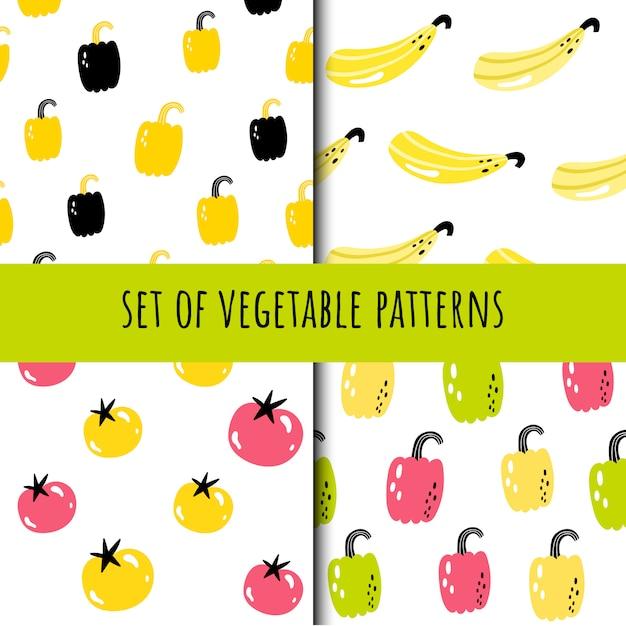 シームレスな野菜パターンのセット Premiumベクター