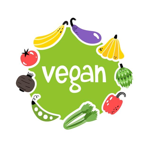 手でベクトル図には、野菜とビーガンのテキストが描かれています。 Premiumベクター