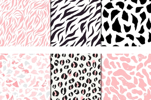 Набор векторных бесшовные модели, леопард, зебра, галька жираф Premium векторы