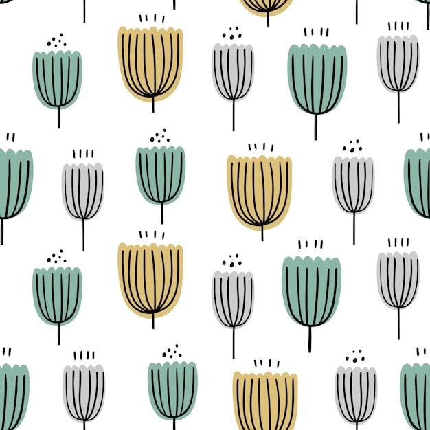 抽象的な花柄シームレスパターン。手描き、包装、織物およびその他のデザインの落書きスタイル植物。 Premiumベクター