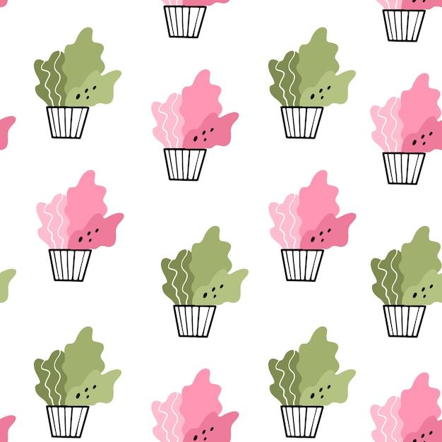 鍋に家の花。落書きスタイルでシームレスなパターンベクトル Premiumベクター