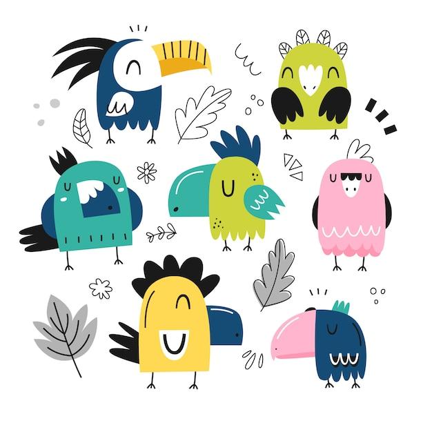 Набор красочных милых попугаев Premium векторы