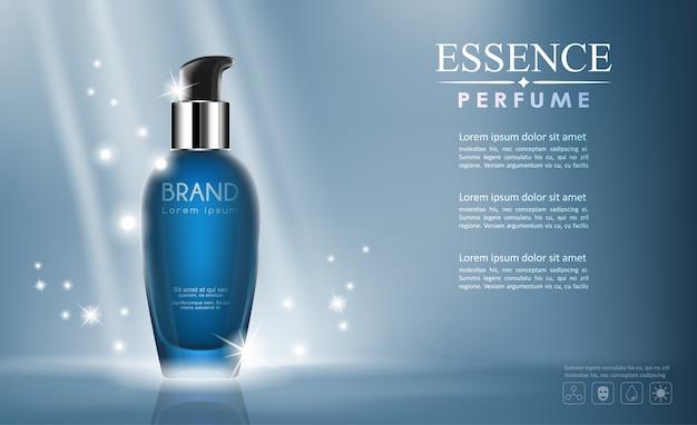 Вектор бутылка косметический макет прозрачный и блеск на синем фоне Premium векторы