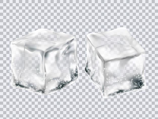 透明な氷のキューブ Premiumベクター