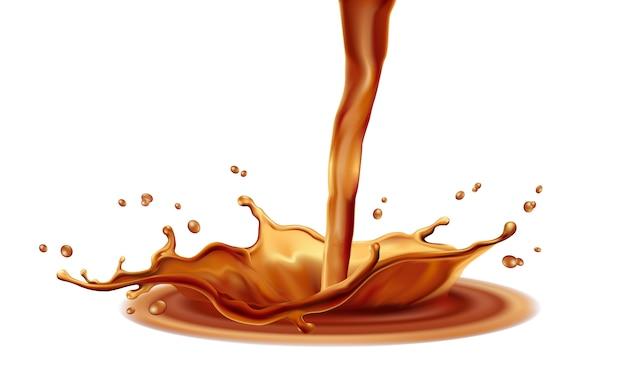 Элементы брызг кофе на белом фоне Premium векторы