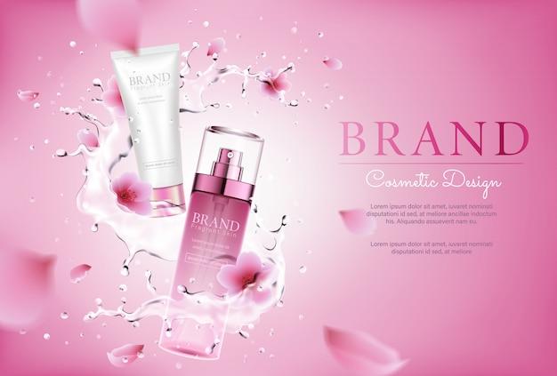 水のしぶきとポスターのピンクの花化粧品 Premiumベクター
