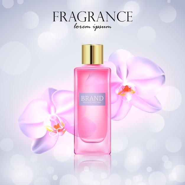 Косметический продукт с цветами орхидеи Premium векторы