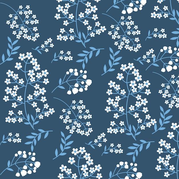 Осенние цветы синий фон Premium векторы