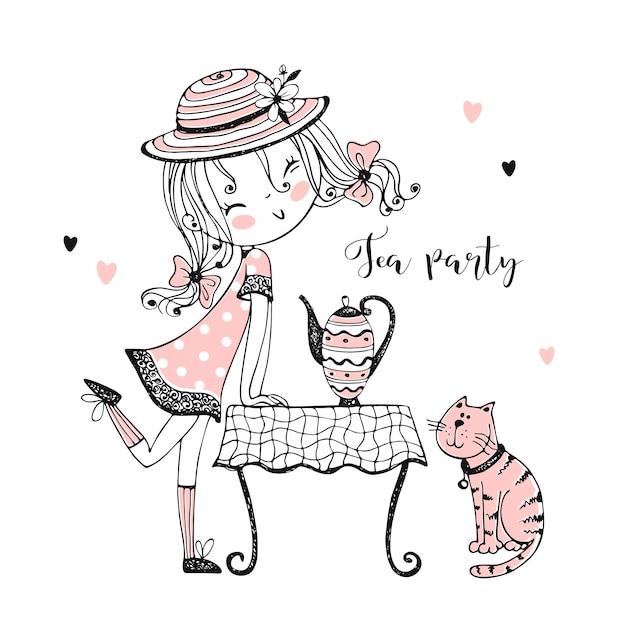 Милая девушка в шляпе приглашает вас на чай со своей кошкой. Premium векторы