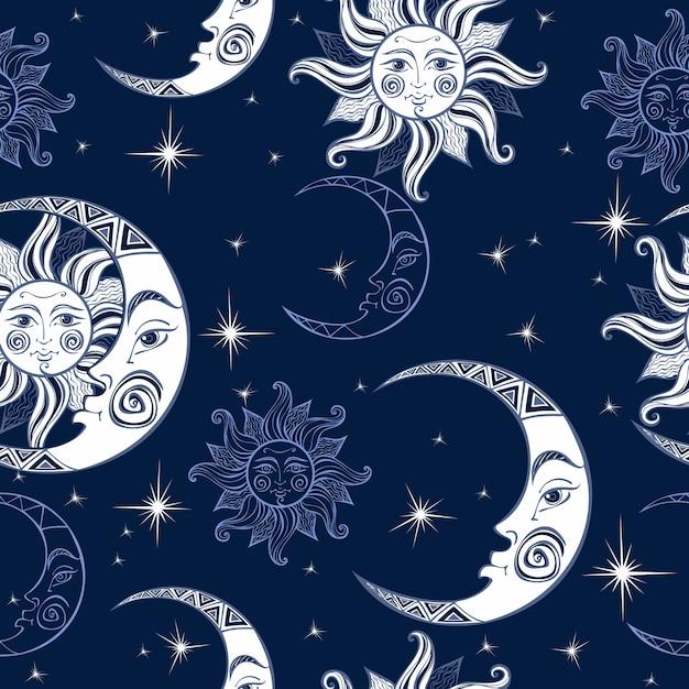 太陽と月のパターン。 Premiumベクター