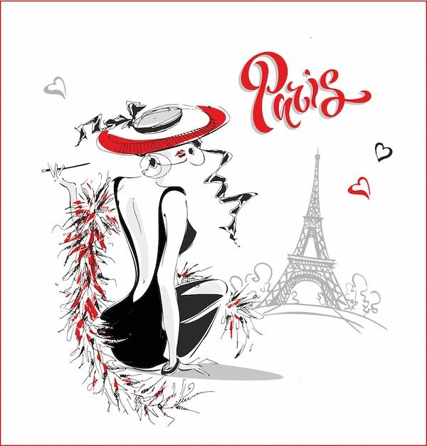 ファッションモデル。パリ。レタリング。 Premiumベクター