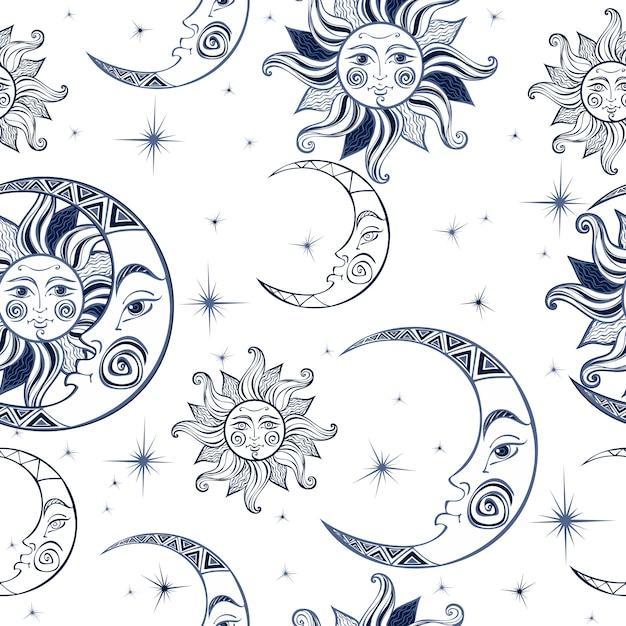 シームレスパターン太陽の月と星。宇宙の背景 Premiumベクター