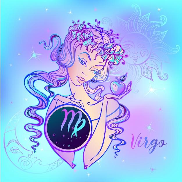 Знак зодиака дева красивая девушка Premium векторы
