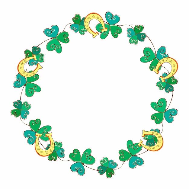 聖パトリックの日のためのフレームお祝い花輪。 Premiumベクター