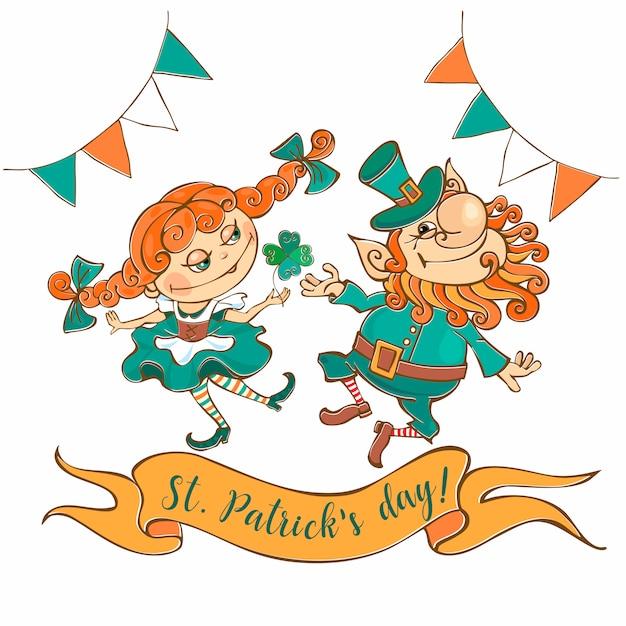 レプラコーンと少女聖パトリックの日カードを踊る。 Premiumベクター