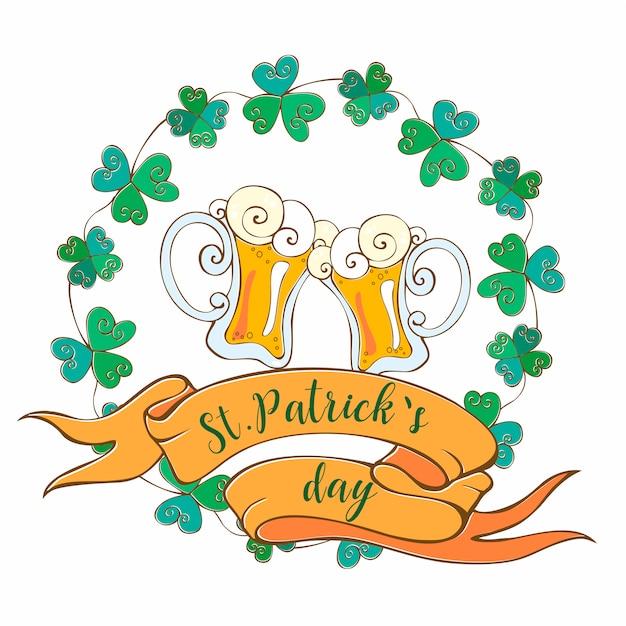 聖パトリックの日のビールジョッキ付きのポストカード。 Premiumベクター