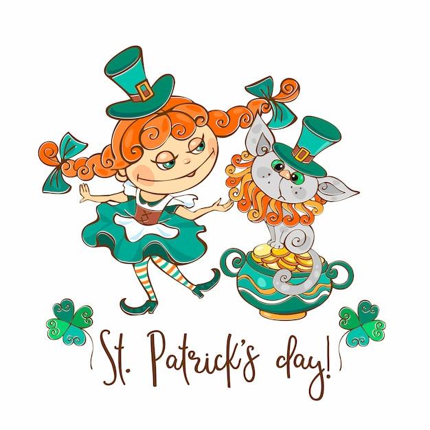 Ирландская девушка с кошкой на день святого патрика. Premium векторы