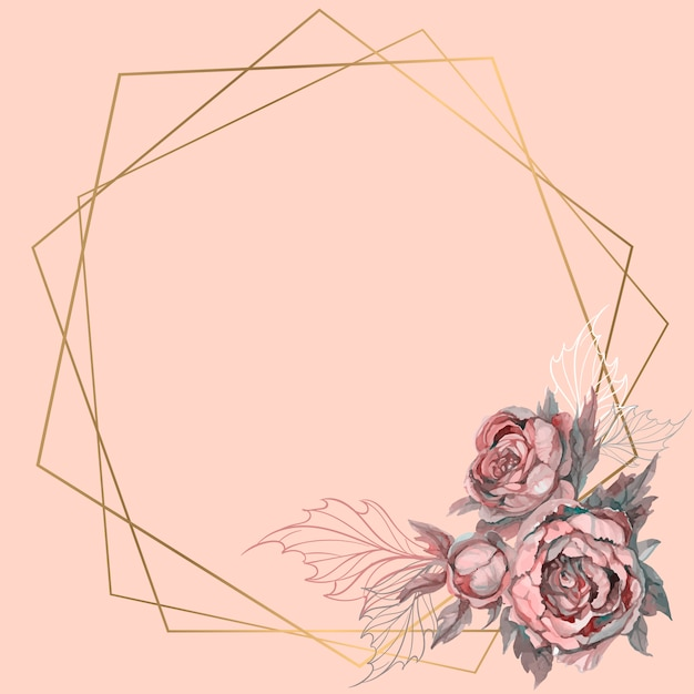 花の花束とゴールドの幾何学的なフレーム。 Premiumベクター