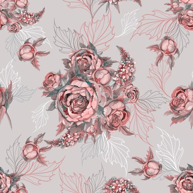 シームレスな花柄バラのシャクヤクとライラックの花束。 Premiumベクター