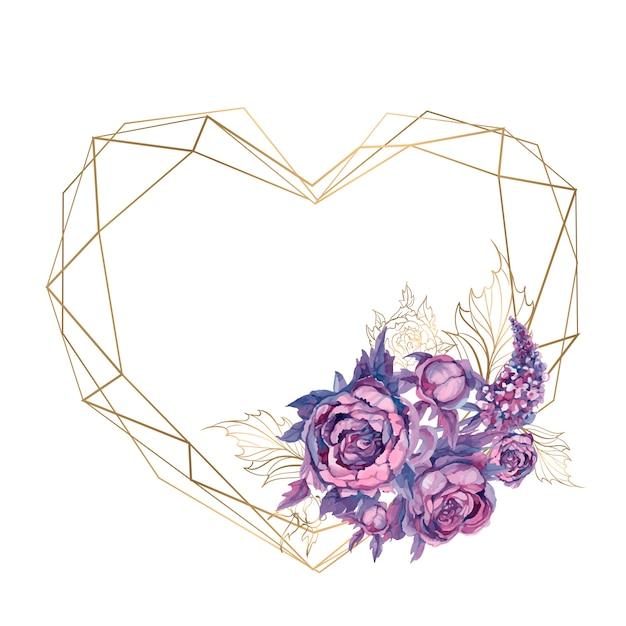 花の花束とフレームの心。 Premiumベクター