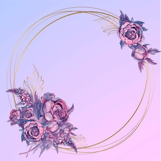 水彩花の花束とラウンドゴールドフレーム Premiumベクター