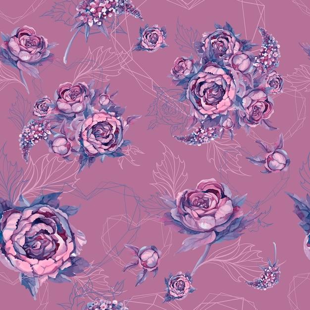 シームレスな花柄バラの牡丹とライラックの花束 Premiumベクター