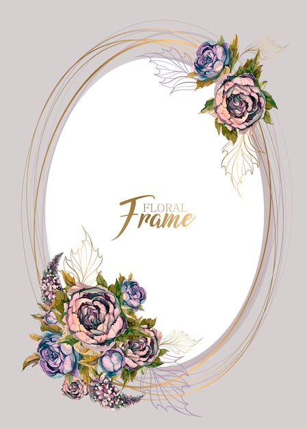 花の花束とオーバルお祝いフレーム Premiumベクター