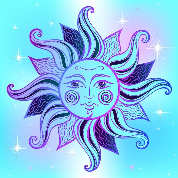太陽。ビンテージ・スタイル。占星術。エスニック。異教徒。自由奔放に生きるスタイル。 Premiumベクター