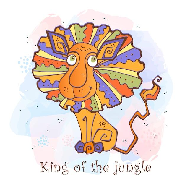 かわいいスタイルの漫画ライオン。ジャングルの王 Premiumベクター