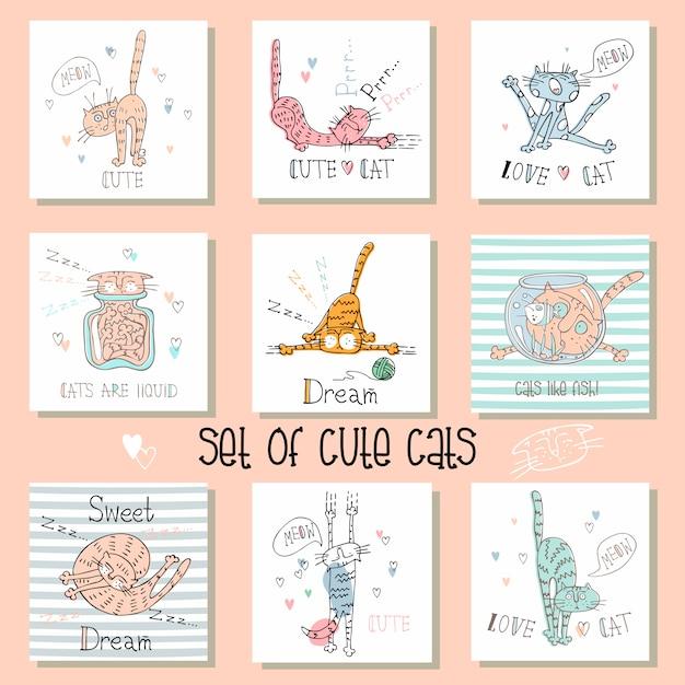 Набор карточек смешные кошки в милом стиле. Premium векторы