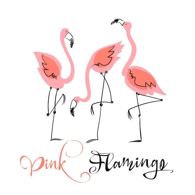 ピンクのフラミンゴ。かわいいスタイルで楽しいイラスト。 Premiumベクター