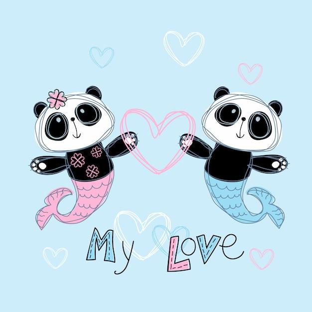 愛する人魚パンダ。男の子と女の子。私の愛。レタリング。 Premiumベクター