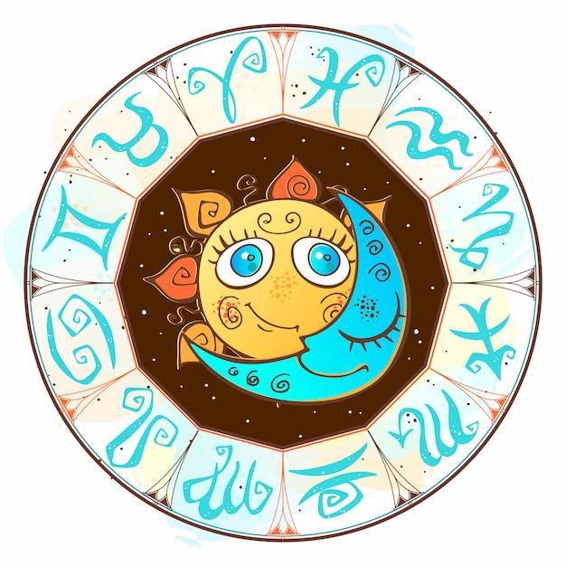 黄道帯。占星術のシンボルです。ホロスコープ太陽と月 Premiumベクター