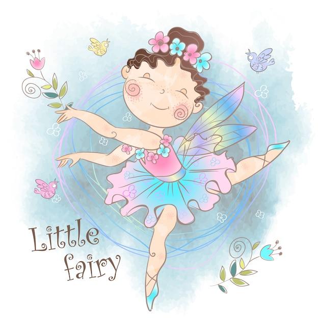 Маленькая милая волшебная фея с цветами. Premium векторы