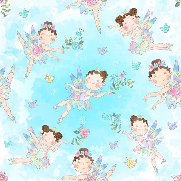 かわいい小さな魔法の妖精とのシームレスなパターン。 Premiumベクター