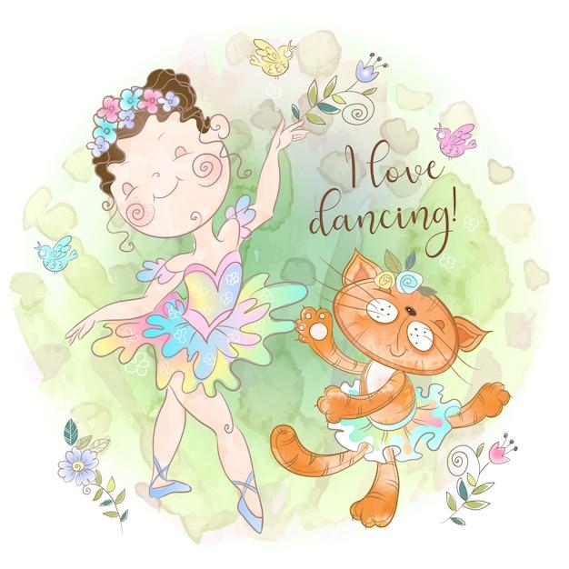 おもちゃのキティと踊るバレリーナの女の子。踊ることが大好きだ。 Premiumベクター