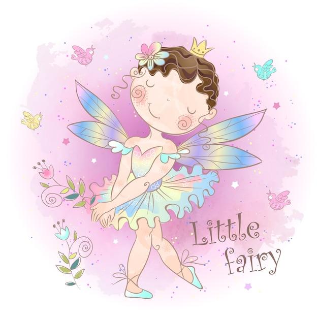 小さなおとぎ話の妖精。森の少女エルフ。 Premiumベクター