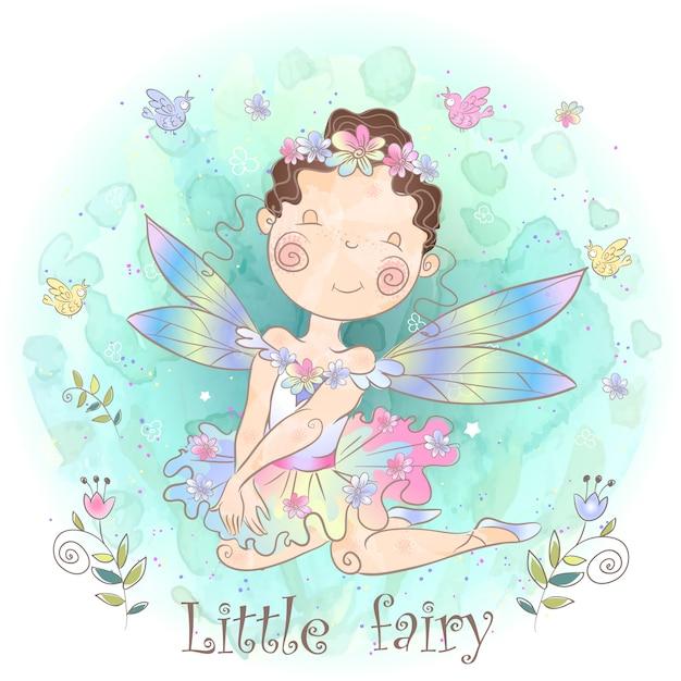 Маленькая сказочная фея. лесная девушка эльф. Premium векторы