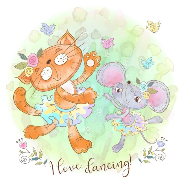 かわいい猫とネズミのダンス。面白い友達。 Premiumベクター