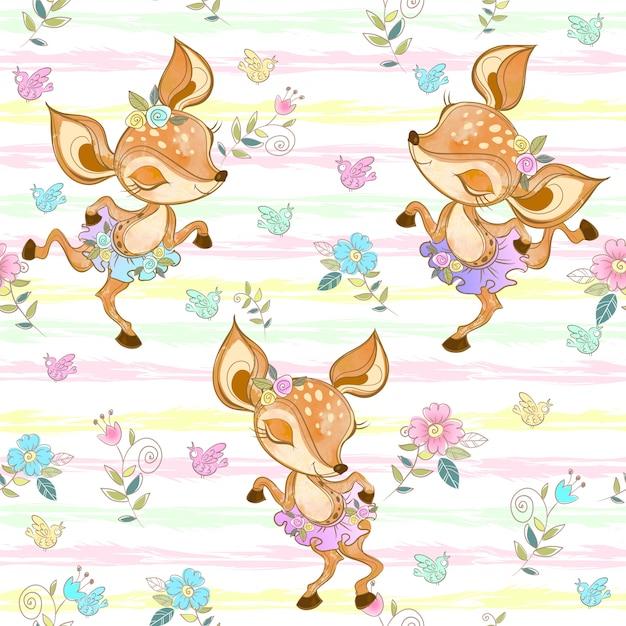 かわいいダンス子鹿とのシームレスなパターン。バレリーナ。 Premiumベクター